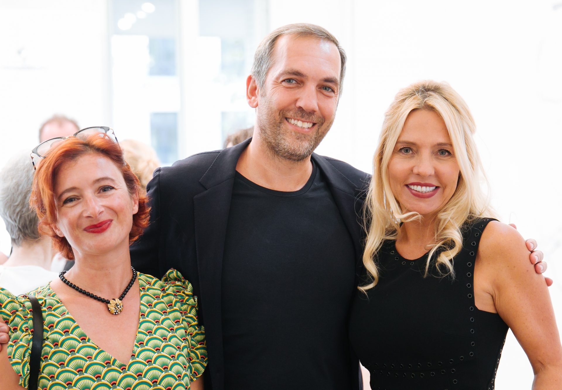 "Claudine Penou (sbdpro.fr), David Bitton and Stéphanie Coutas at the launch party of the ""Montaigne"" collection"